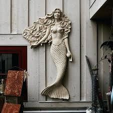 MERMAID WALL MOUNT STONE RESIN FINISH